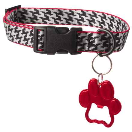 Bison Designs Dog Collar with Paw Bottle Opener in Houndstooth - Closeouts