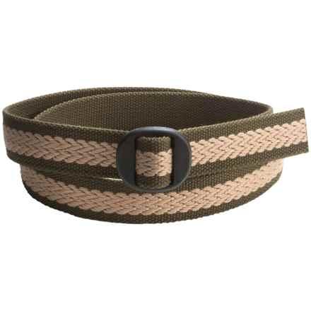 Bison Designs Ellipse 3D Herringbone 30mm Belt (For Men and Women) in Olive/Natural - Closeouts