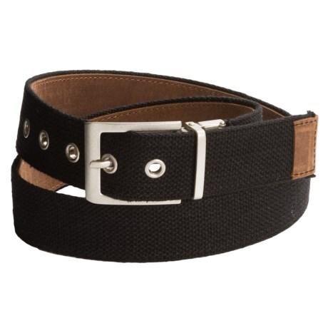 Bison Designs Leather-to-Webbing Belt - Reversible (For Men and Women) in Black