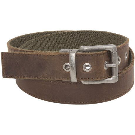 Bison Designs Leather-to-Webbing Belt - Reversible (For Men and Women) in Dark Olive