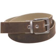 Bison Designs Leather-to-Webbing Belt - Reversible (For Men and Women) in Oatmeal - Closeouts