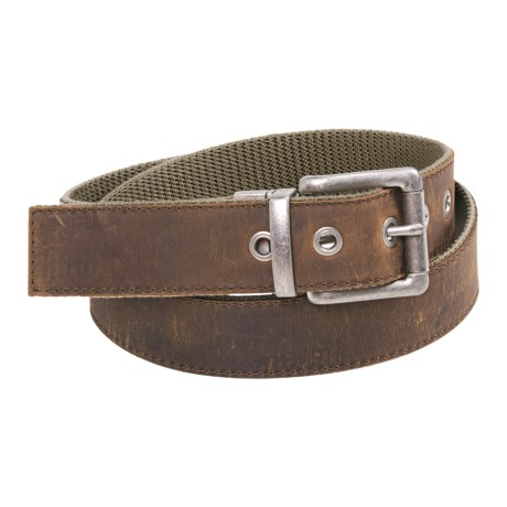 Bison Designs Leather-to-Webbing Belt - Reversible (For Men and Women) in Olive
