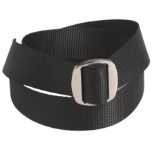 Bison Designs Ojai Web Belt - 38mm (For Men and Women) in Black W/ Silver Buckle - Closeouts