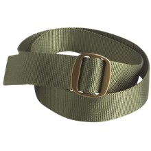 Bison Designs Ojai Web Belt - 38mm (For Men and Women) in Olive W/ Bronze Buckle - Closeouts