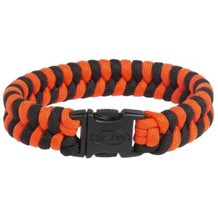 Bison Designs Two-Tone Paracord Bracelet (For Men and Women) in Orange/Black - Closeouts
