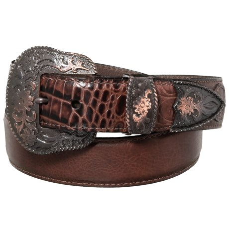 Bison Leather Embossed Alligator Belt with Embroidered Buckle