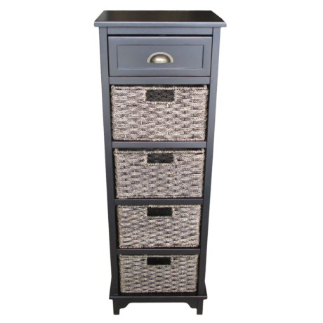 Image of Black Acacia Wood Storage Cabinet - 15x12x45?