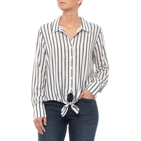 Image of Black and White Stripe Tie-Front Shirt - Long Sleeve (For Women)