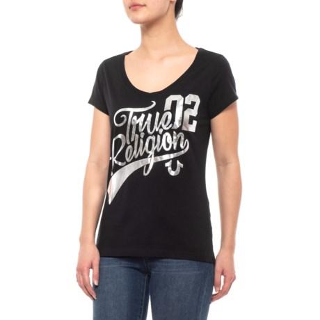 Image of Black Athletic V-Neck T-Shirt - Short Sleeve (For Women)