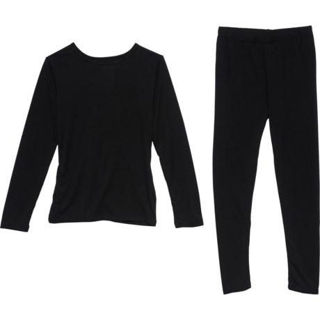 Black Base Layer Set - Long Sleeve (For Girls) - BLACK (XL ) thumbnail
