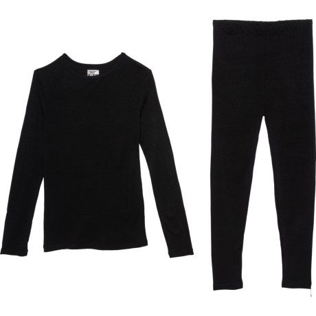 Black Base Layer Set - Long Sleeve (For Girls) - BLACK (S ) thumbnail