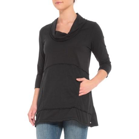 Image of Black Charlton Tunic Shirt - 3/4 Sleeve (For Women)