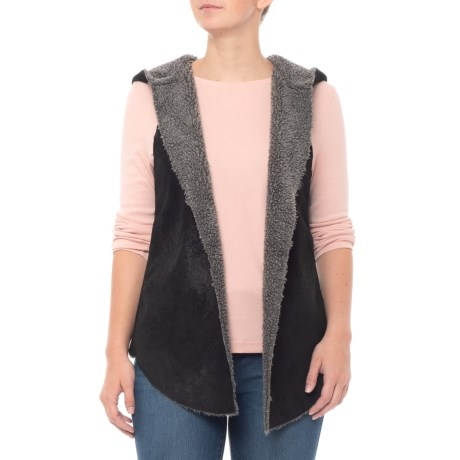 Image of Black Distressed Suede Reversible Vest (For Women)