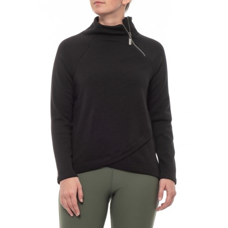 Image of Black Fleece Mock Wrap - Zip Neck, Long Sleeve (For Women)