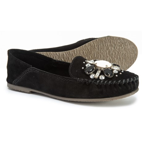 Image of Black Gemstone Moccasins - Suede (For Women)