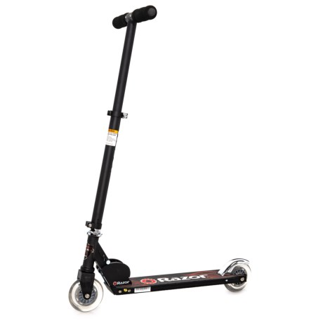 CLOSEOUTS. Great for spinning around the neighborhood, Razorand#39;s Black Label A kick scooter is fun for kids and teens up to 143 pounds. The aircraft-grade aluminum tube and deck is sturdy and lightweight, and the rear fender braking system ensures quick and easy stops. Available Colors: CLEAR.