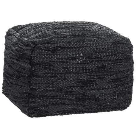 Image of Black Leather Pouf - 20x20x16?