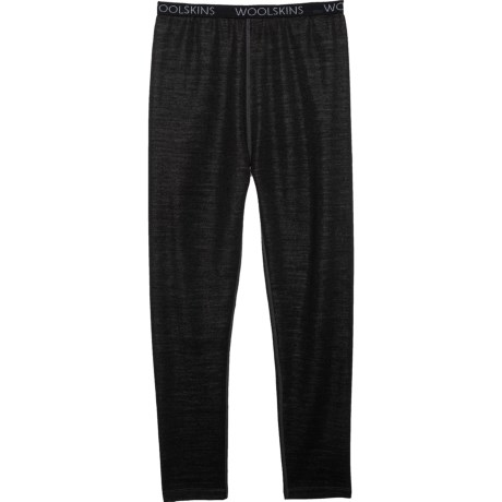 Black Merino Woolskins Midweight Base Layer Pants (For Kids) - BLACK (L ) thumbnail