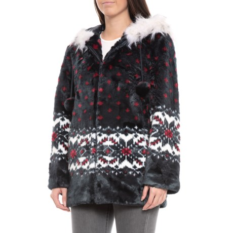 Black Mountain Faux-Fur Hooded Jacket (For Women) in Snowflakes