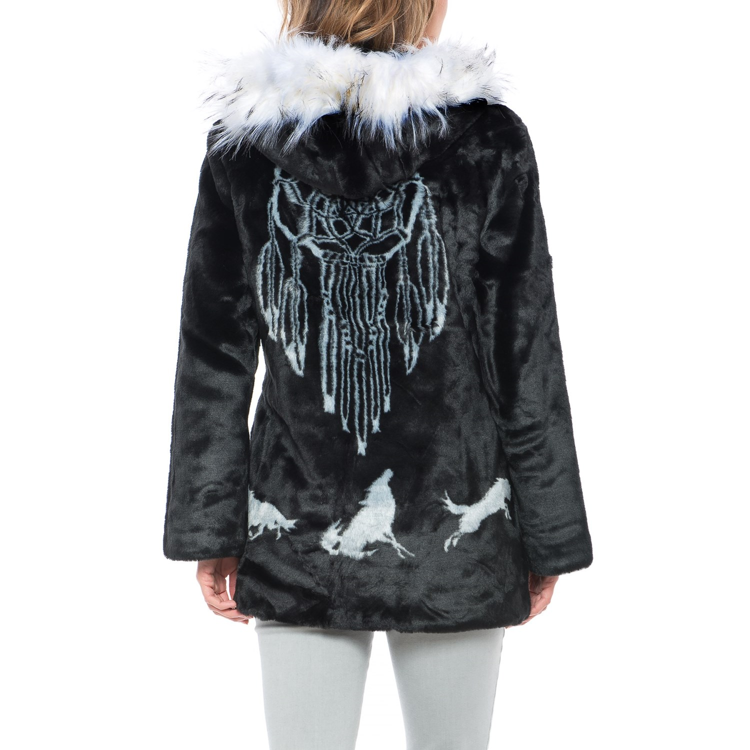 Black Mountain Faux-Fur Hooded Jacket (For Women) - Save 47%