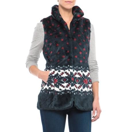 Black Mountain Faux-Fur Vest (For Women) in Snowflakes