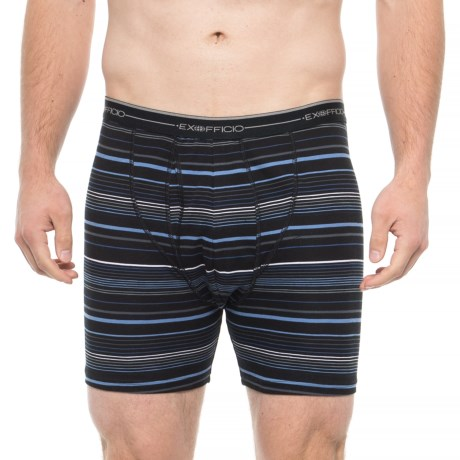Image of Black Multi Stripe Sol Cool Printed Boxer Briefs (For Men)