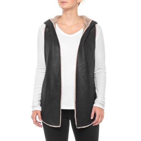 Image of Black-Natural Soft Shearling Reversible Hood Vest (For Women)