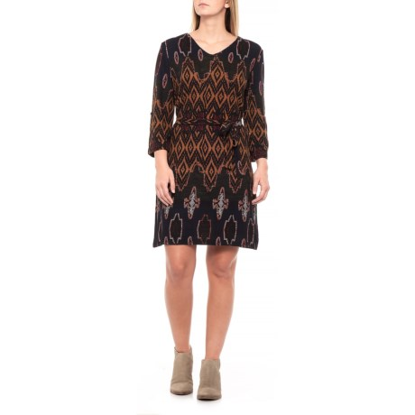 Black Print Tunic Dress - 3/4 Sleeve (For Women)
