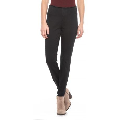 Image of Black Pull-On Slim Stirrup Jeans (For Women)