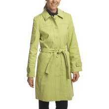 Black Rivet Brushed Twill Trench Coat (For Women) in Apple - Closeouts