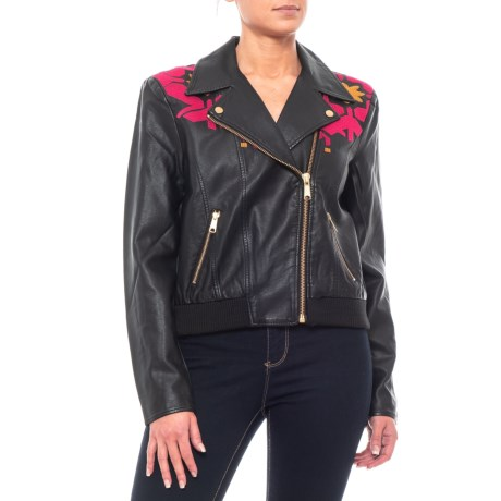 Image of Black-Rose Print Solid Pleather Moto Jacket (For Women)