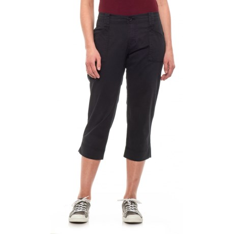 Image of Black Solid Capris (For Women)
