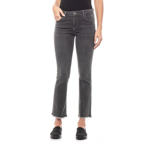 Image of Black Straight Crop Jeans (For Women)