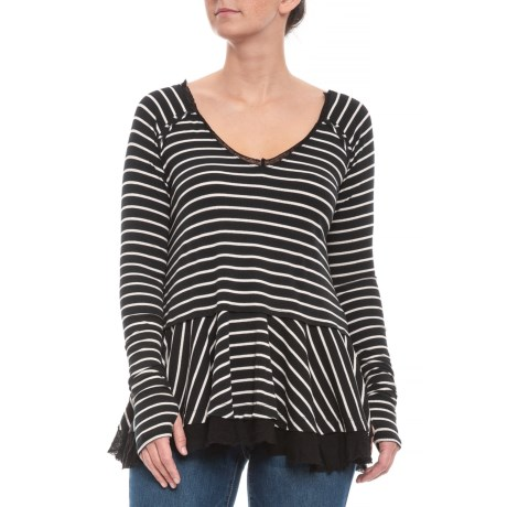 Image of Black Striped Tangerine T-Shirt - Long Sleeve (For Women)