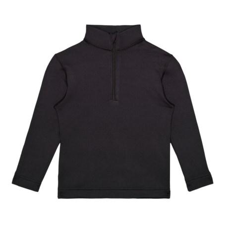 Black Thermal 150 Ultrastretch Base Layer Top - Zip Neck, Long Sleeve (For Boys) - BLACK (XS ) thumbnail
