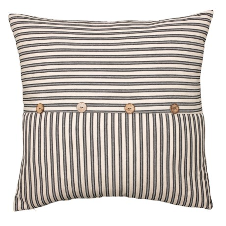 Image of Black Ticking Stripe Button Pillow - 22x22? Feathers