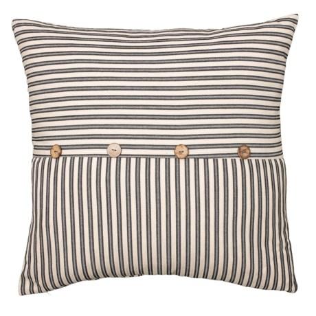 Image of Black Ticking Stripe Button Throw Pillow - 22x22? Feathers