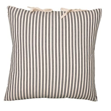 Image of Black Ticking Stripe Tie Throw Pillow - 22x22? Feathers