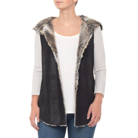 Image of Black Vintage Faux-Fur Reversible Hooded Vest (For Women)