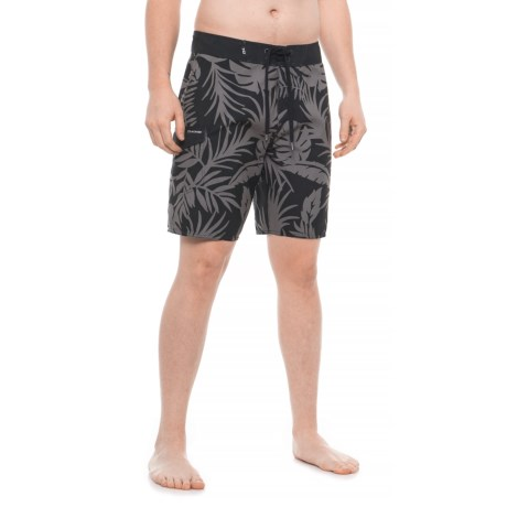 Image of Black Wailua Palm Makaha Boardshorts (For Men)