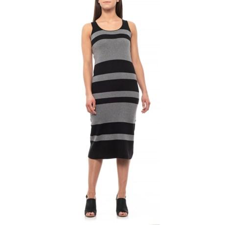 Image of Black/Grey Striped Midi Sweater Dress - Sleeveless (For Women)
