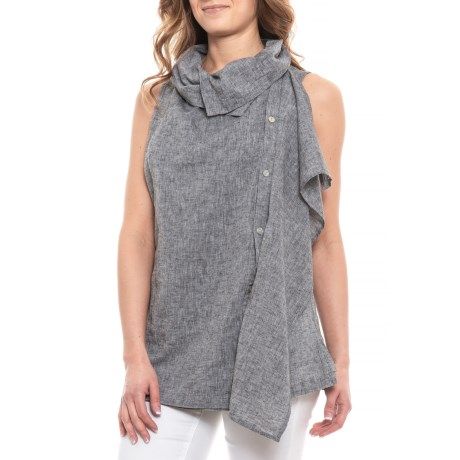 Image of Black/White Cross-Dyed Drape Front Shirt - Sleeveless (For Women)
