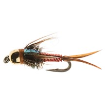 Black's Flies Bead Head Flashback Copper John Nymph Flies - Dozen in Red - Closeouts