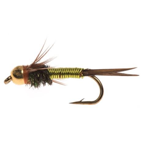 Black's Flies Gold Bead Copper John Nymph Fly - Dozen in Chartreuse