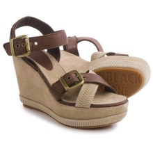 Blackstone DL41 Wedge Sandals - Leather (For Women) in Bark - Closeouts