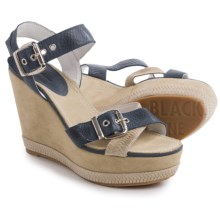 Blackstone DL41 Wedge Sandals - Leather (For Women) in Jeans - Closeouts