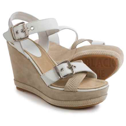 Blackstone DL41 Wedge Sandals - Leather (For Women) in White - Closeouts
