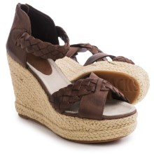 Blackstone FL53 Leather Wedge Sandals (For Women) in Bark - Closeouts
