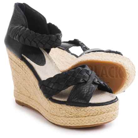 Blackstone FL53 Leather Wedge Sandals (For Women) in Black - Closeouts