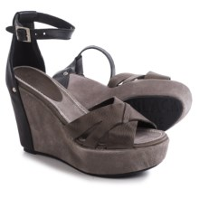 Blackstone FL55 Wedge Sandals - Leather (For Women) in Black/Gull - Closeouts